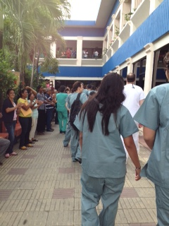 Dominican patients cheering as we arrive at clinic